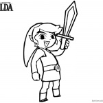 Legend of Zelda Coloring Pages Link Rise his Sword