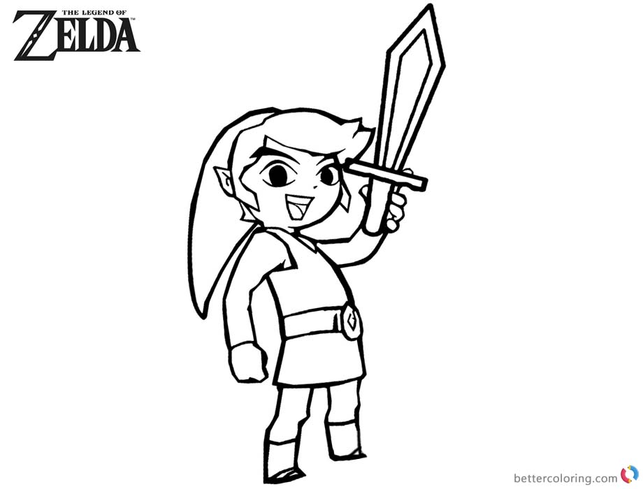 Legend of Zelda Coloring Pages Link Rise his Sword printable for free