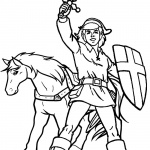 Legend of Zelda Coloring Pages Link and Horse