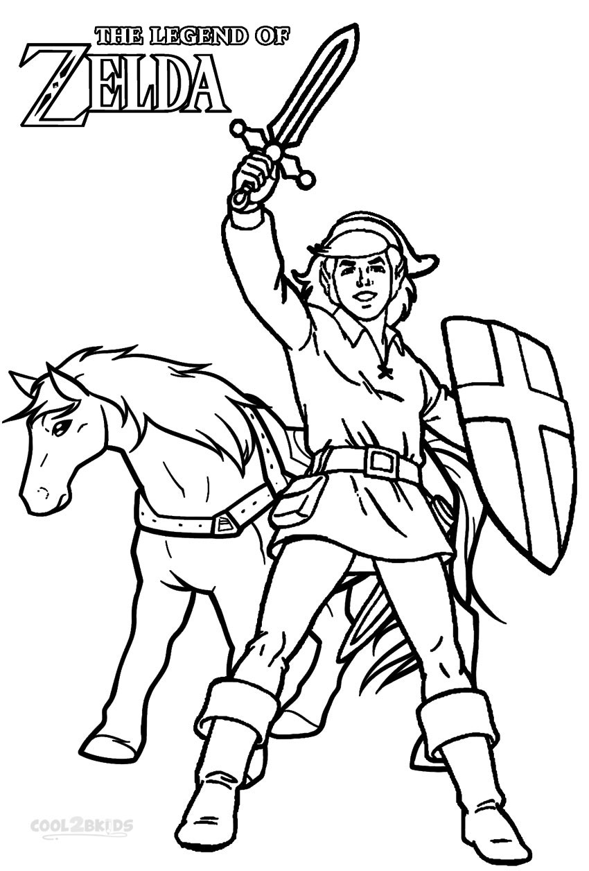 Legend of Zelda Coloring Pages Link and Horse printable for free