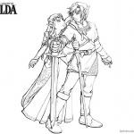Legend of Zelda Coloring Pages Link and Princess