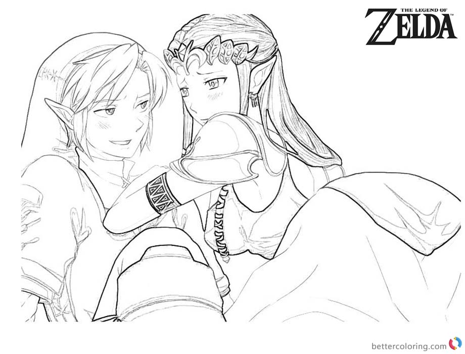 Legend of Zelda Coloring Pages Link and Princess Fan Art printable for free