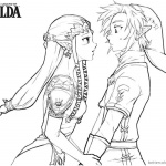 Legend of Zelda Coloring Pages Link and Princess in Love