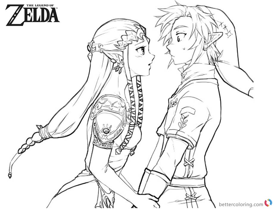 Legend of Zelda Coloring Pages Link and Princess in Love printable for free