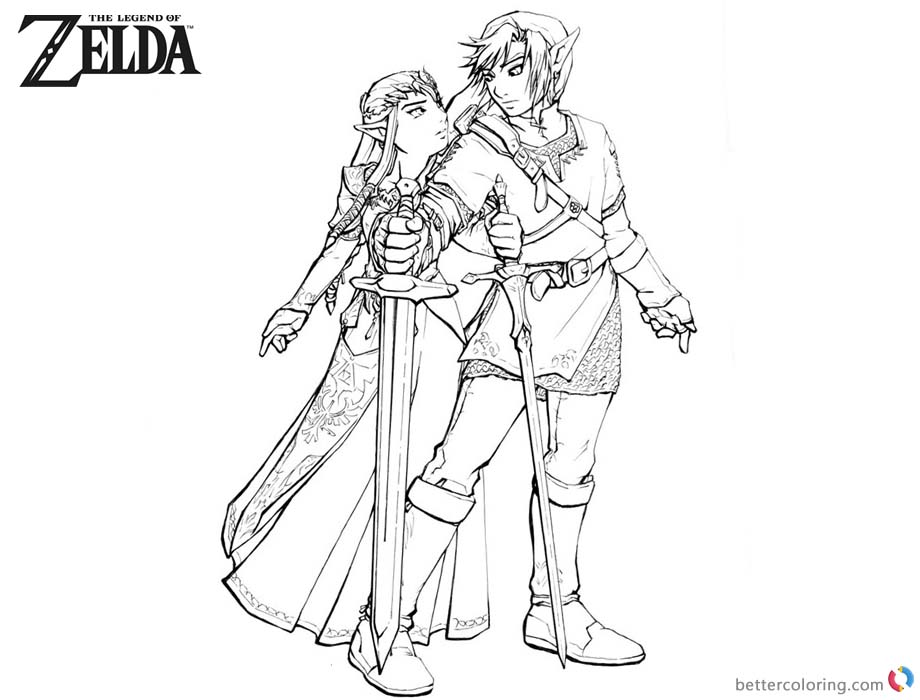 Legend of Zelda Coloring Pages Link and Princess - Free Printable ...