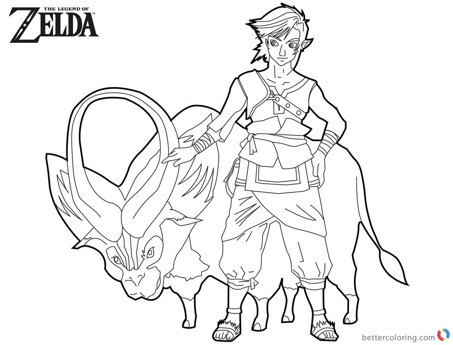Legend of Zelda Coloring Pages Link with Ganon printable for free