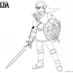Legend of Zelda Coloring Pages Link with Sword and Shield