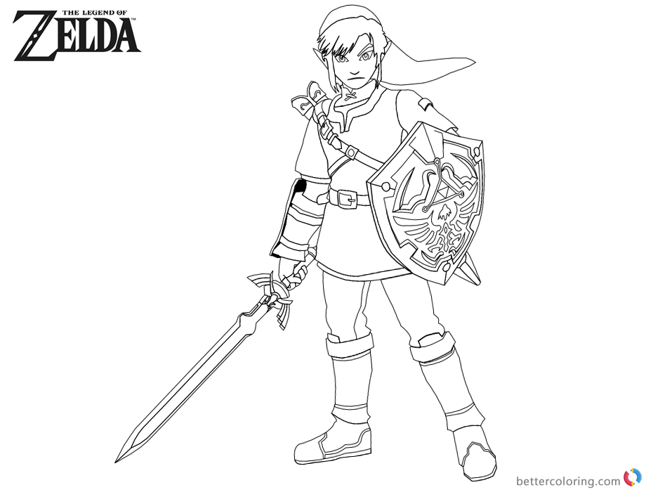 Legend of Zelda Coloring Pages Link with Sword and Shield printable for free