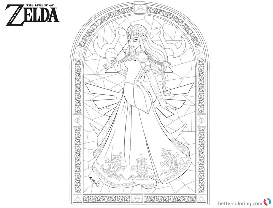 Legend of Zelda Coloring Pages Princess Pattern printable for free
