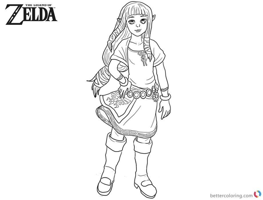 Legend of Zelda Coloring Pages Princess Zelda Fanart printable for free