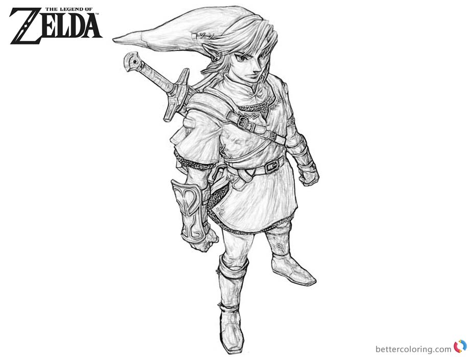 Legend of Zelda Coloring Pages Side View printable for free