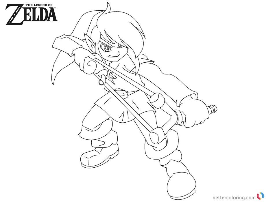 Legend of Zelda Coloring Pages Slingshot printable for free