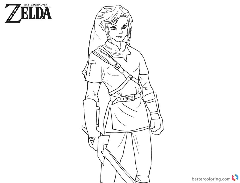 Legend of Zelda Coloring Pages Sword in Hand printable for free