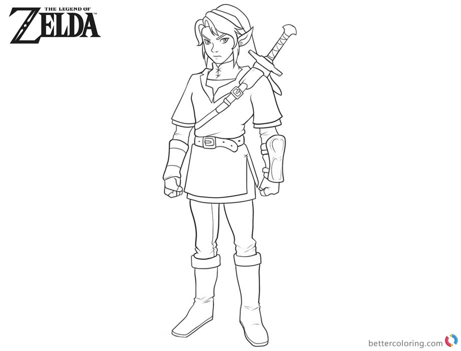Legend of Zelda Coloring Pages Sword on the Back printable for free