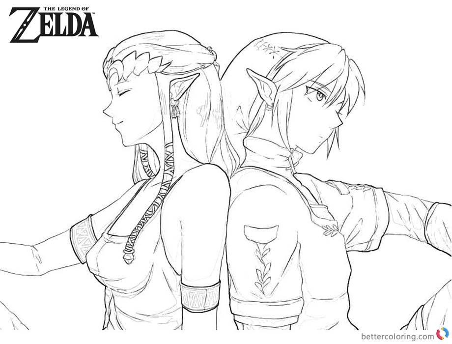 Legend of Zelda Coloring Pages Twilight Princess Line Art printable for free