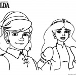 Legend of Zelda Link and Princess Coloring Pages