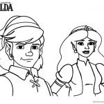 Legend of Zelda Link and Princess Coloring Pages