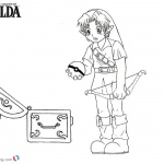 Legeng of Zelda Coloring Pages Link Found a Pokeball
