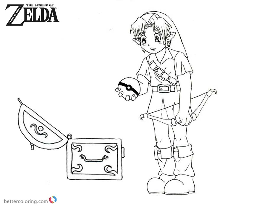 Legeng of Zelda Coloring Pages Link Found a Pokeball printable for free