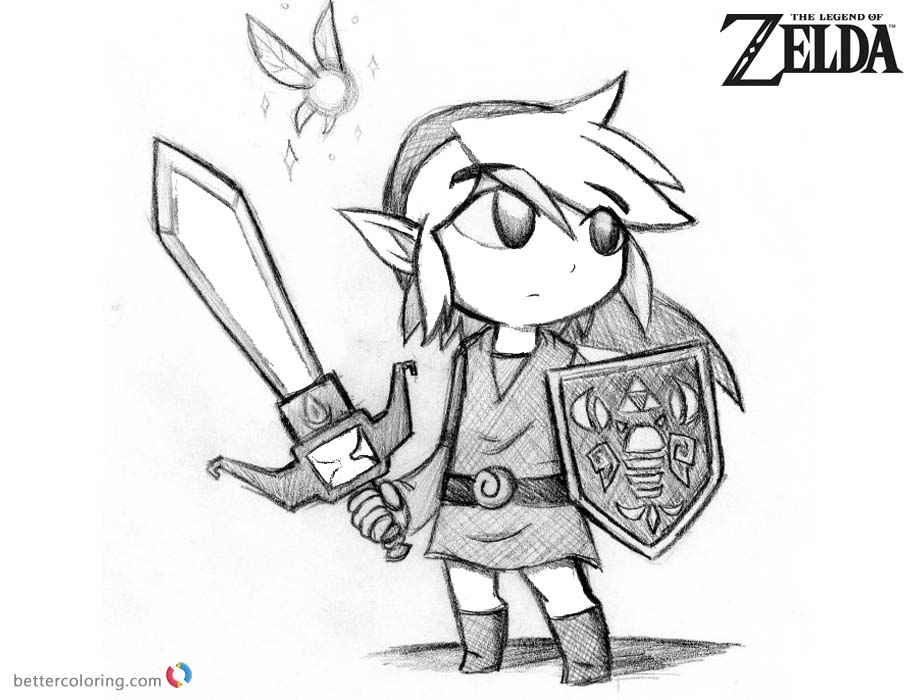 Lengend of Zelda Coloring Pages Toon Link Pencil Drawing printable for free