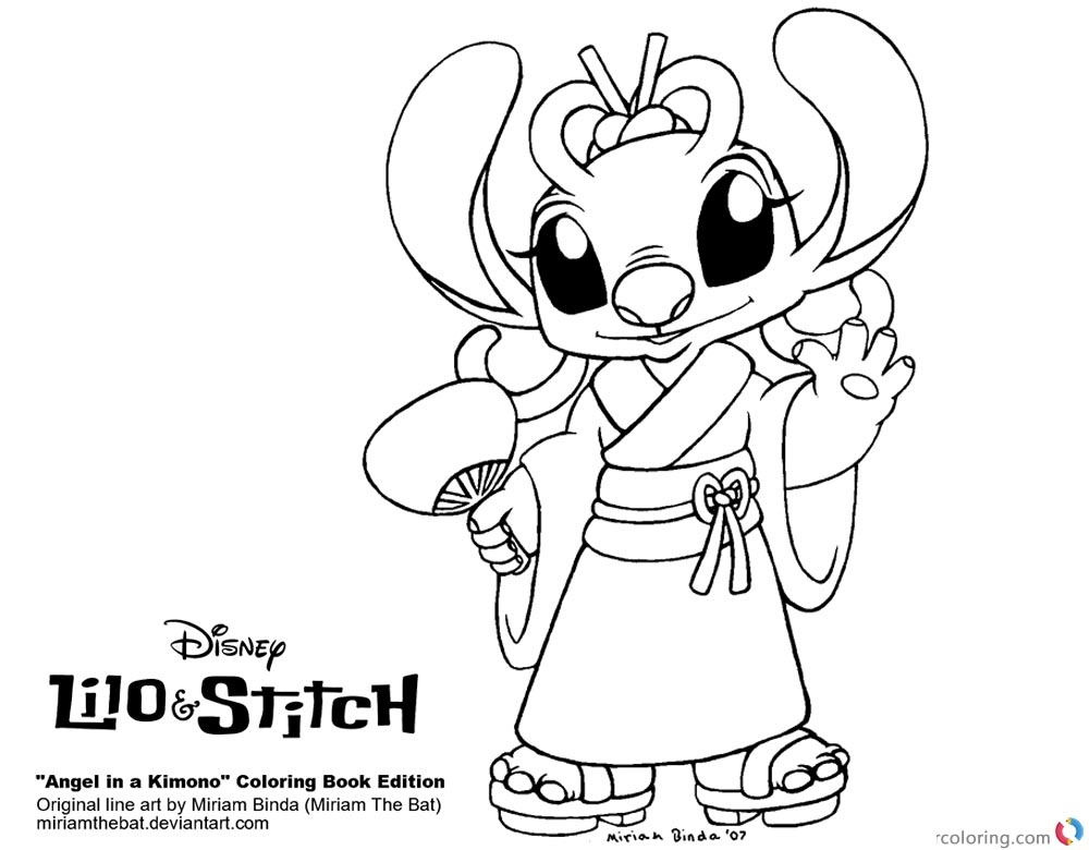 Lilo and Stitch Coloring Pages Angel in A Kimono Free