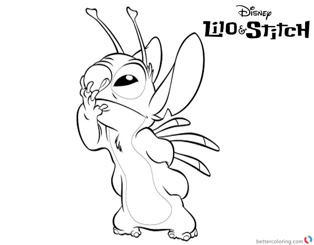 Lilo and Stitch Coloring Pages Close Mouth printable and free