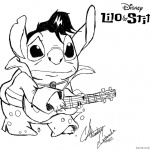 Lilo and Stitch Coloring Pages Fanart Stitch is Playing Guitar