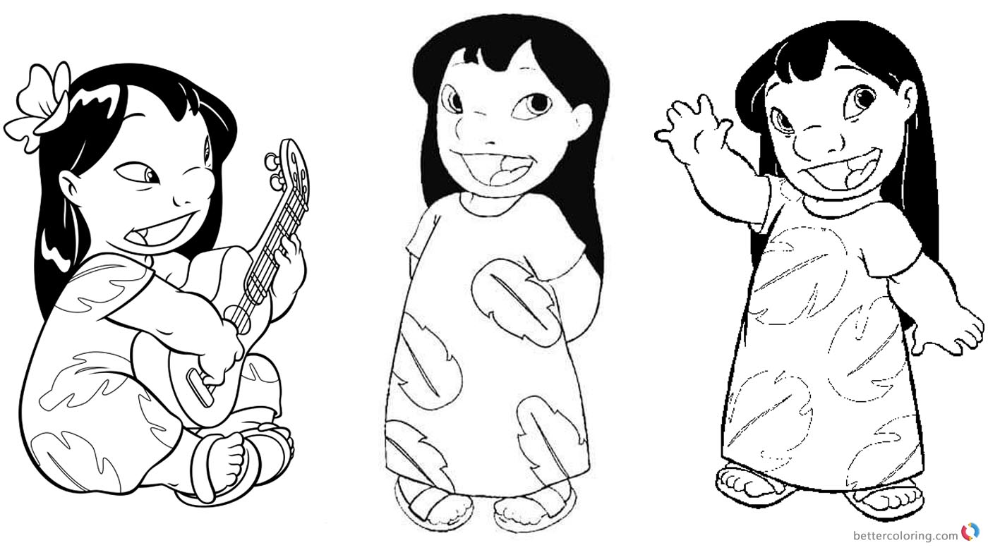 Lilo and Stitch Coloring Pages Fancy Lilo - Free Printable Coloring ...