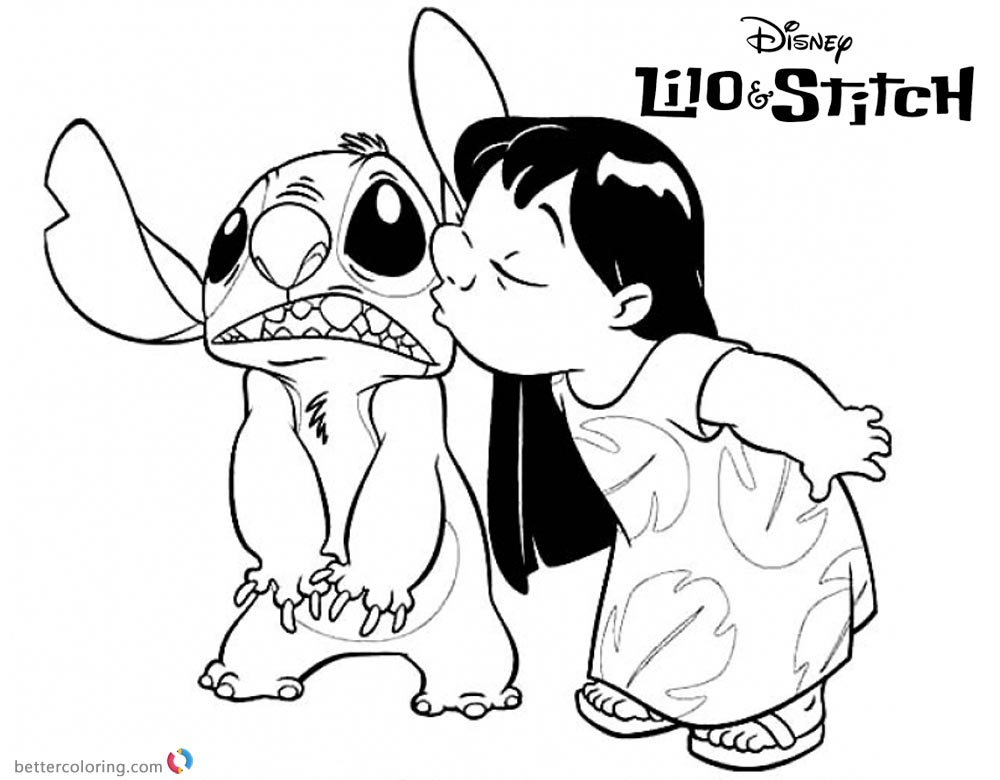 Lilo and Stitch Coloring Pages Lilo kissing Stitch printable and free
