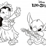 Lilo and Stitch Coloring Pages Play Guitar and Dancing