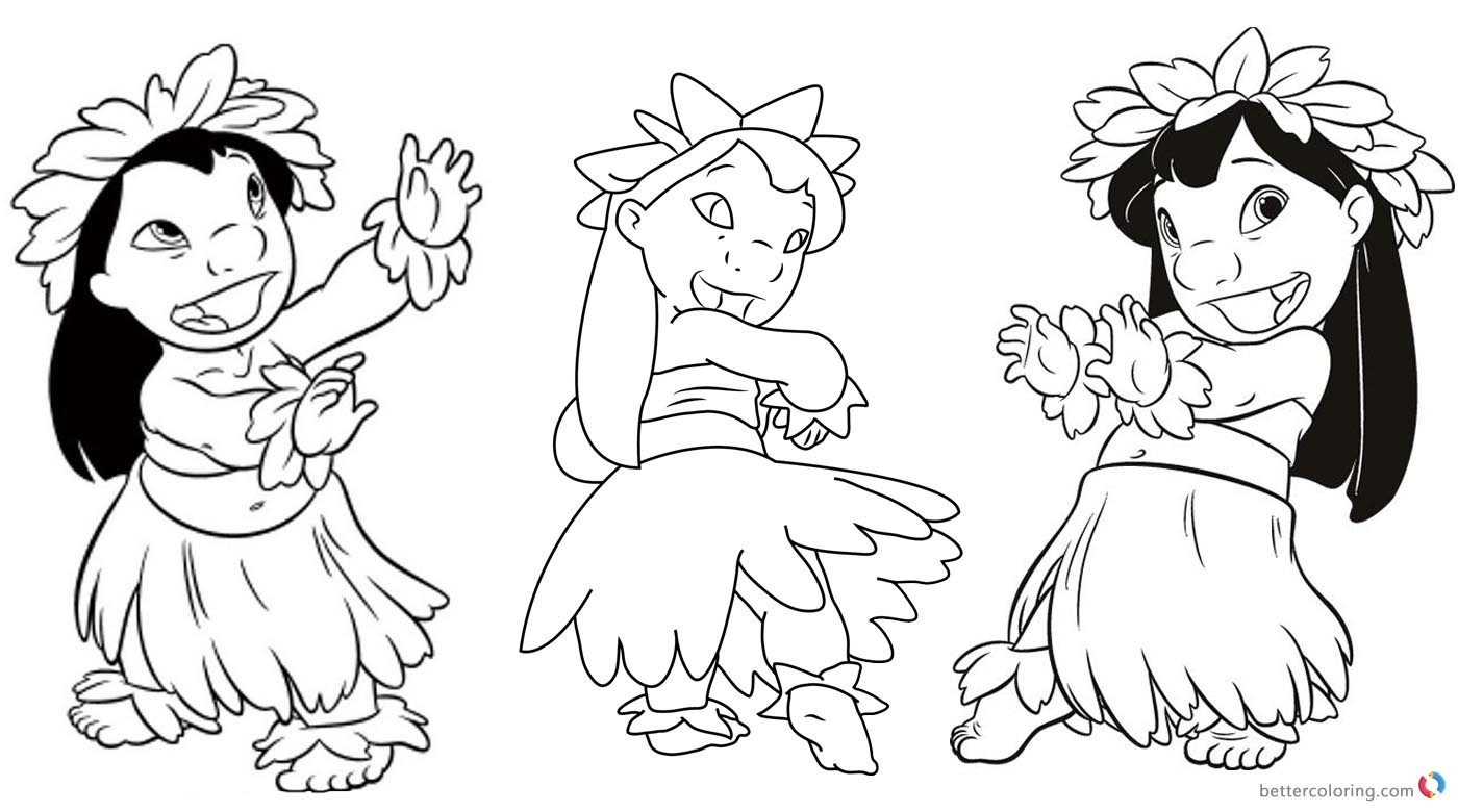 Lilo and Stitch Hula Coloring Pages Hula Dance - Free Printable ...