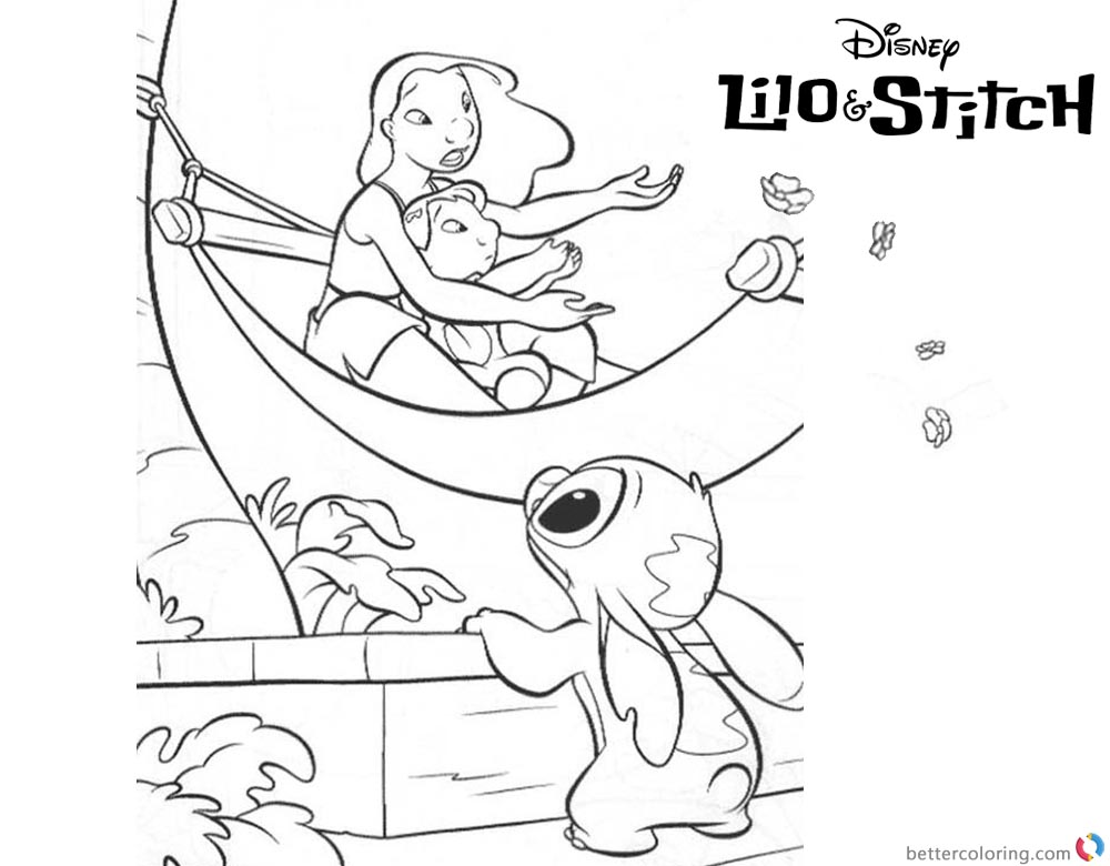 Lilo and Stitch Ohana Coloring Pages On A Boat printable and free