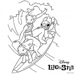 Lilo and Stitch Surfing Coloring Pages Surfing Picture