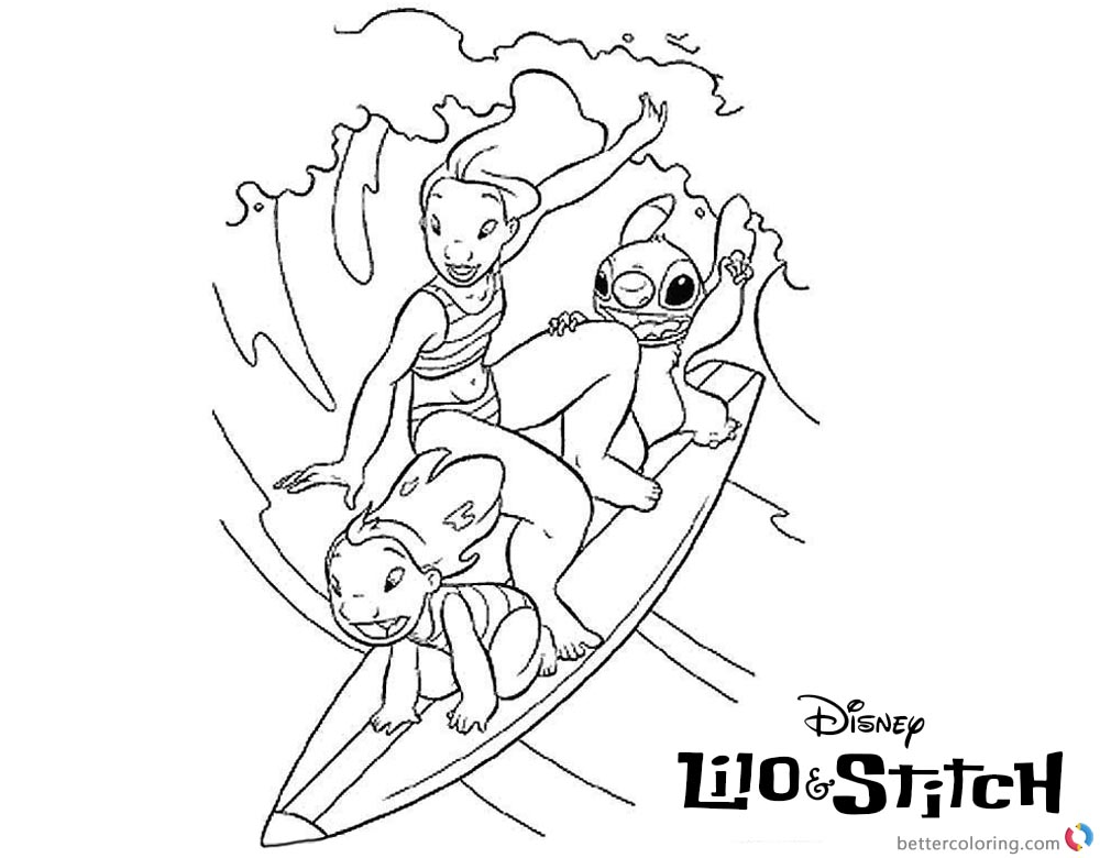 Lilo and Stitch Surfing Coloring Pages Surfing Picture printable and free