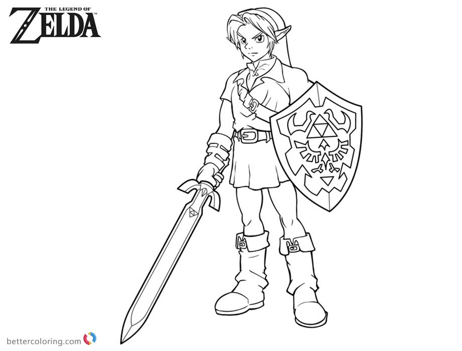 link from legend of zelda coloring pages  free printable