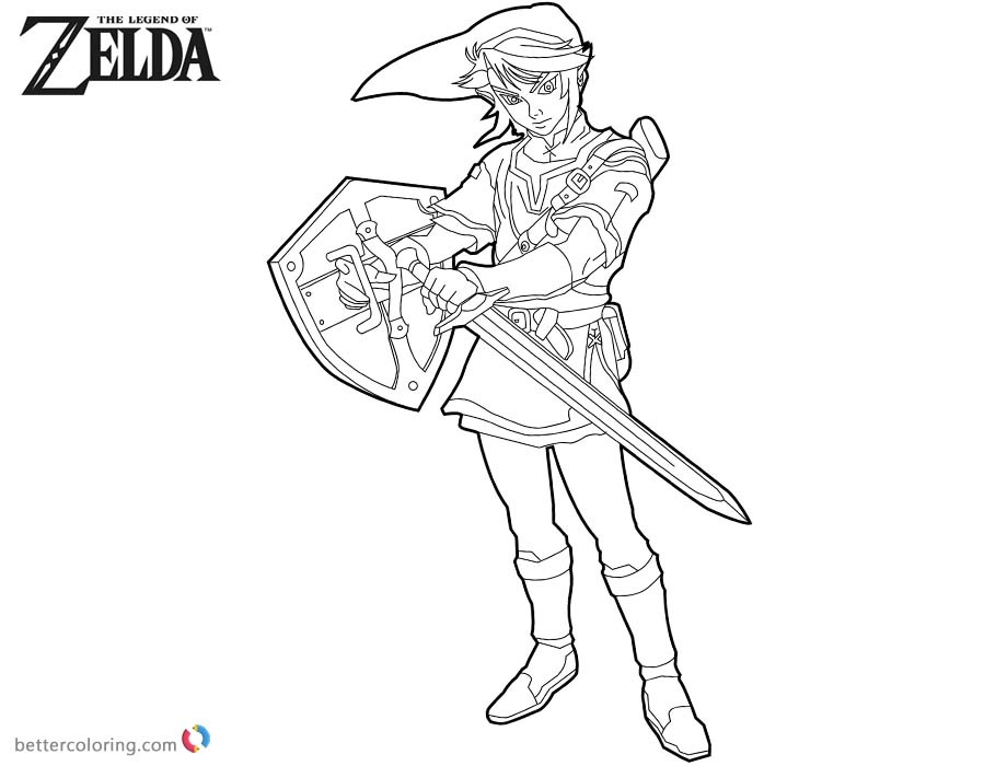 Link from Zelda Coloring Pages Line Drawing printable for free