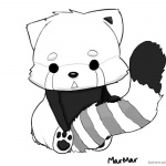 Litte Red Panda Coloring Pages Black and White