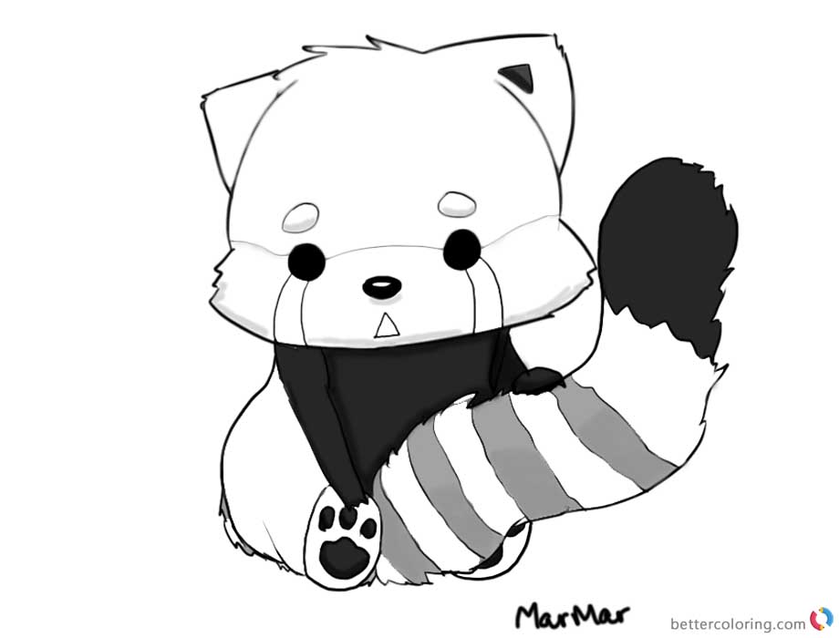 Litte Red Panda Coloring Pages Black and White printable for free