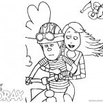 Lorax Coloring Page Audrey and Ted on A Bike