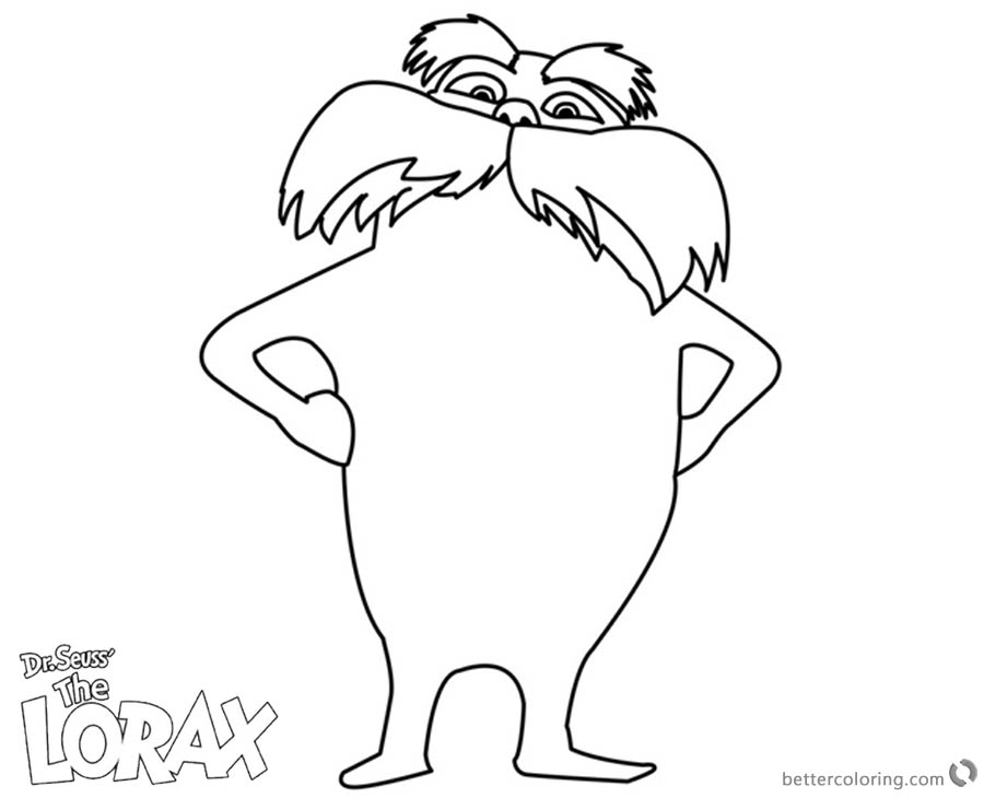 Lorax Coloring Pages Line art printable