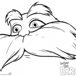 Lorax Mustache Coloring Page with Face