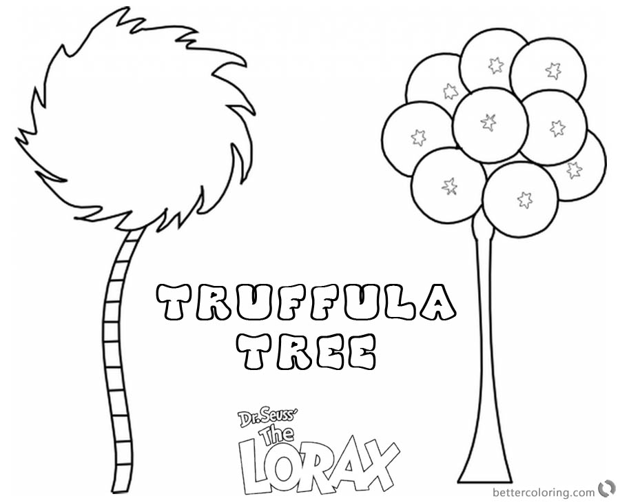 Lorax Tree Coloring Page Truffula Tree - Free Printable Coloring Pages