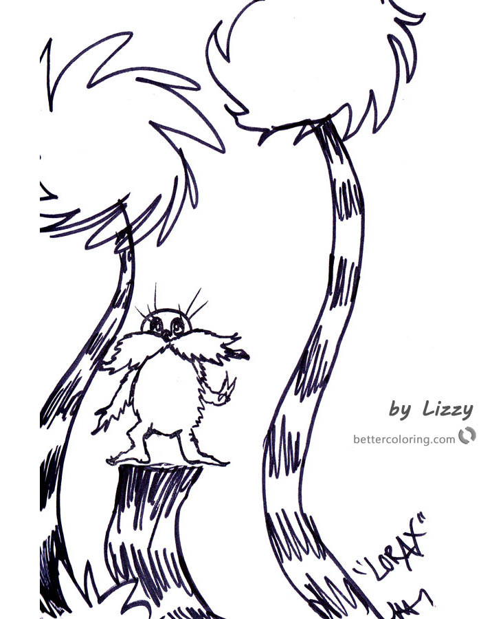 Lorax coloring page kids Drawing printable