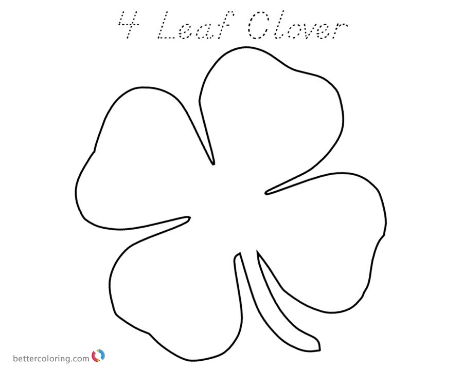 Lucky Four Leaf Clover Coloring Pages printable