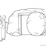 Mary by the Empty Tomb Cloring Pages Easter He is Risen