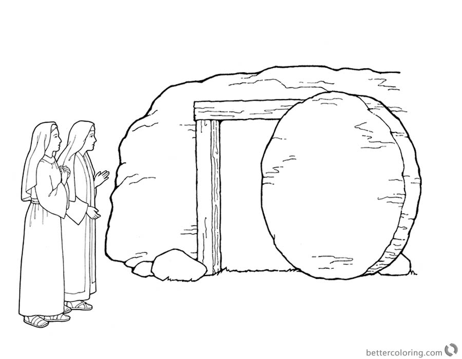 free empty tomb coloring pages | Mary by the Empty Tomb Cloring Pages Easter He is Risen ...