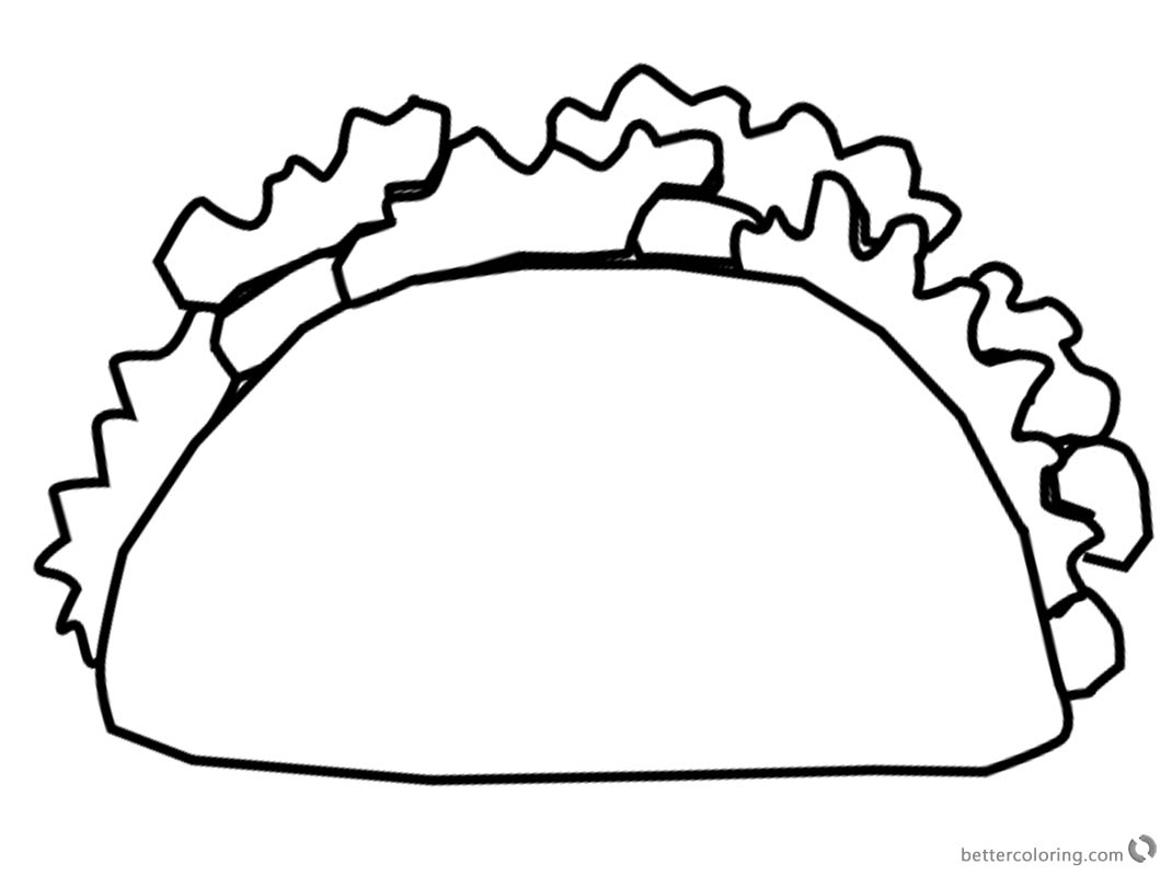 Mexican Taco Coloring Pages Black and White printable