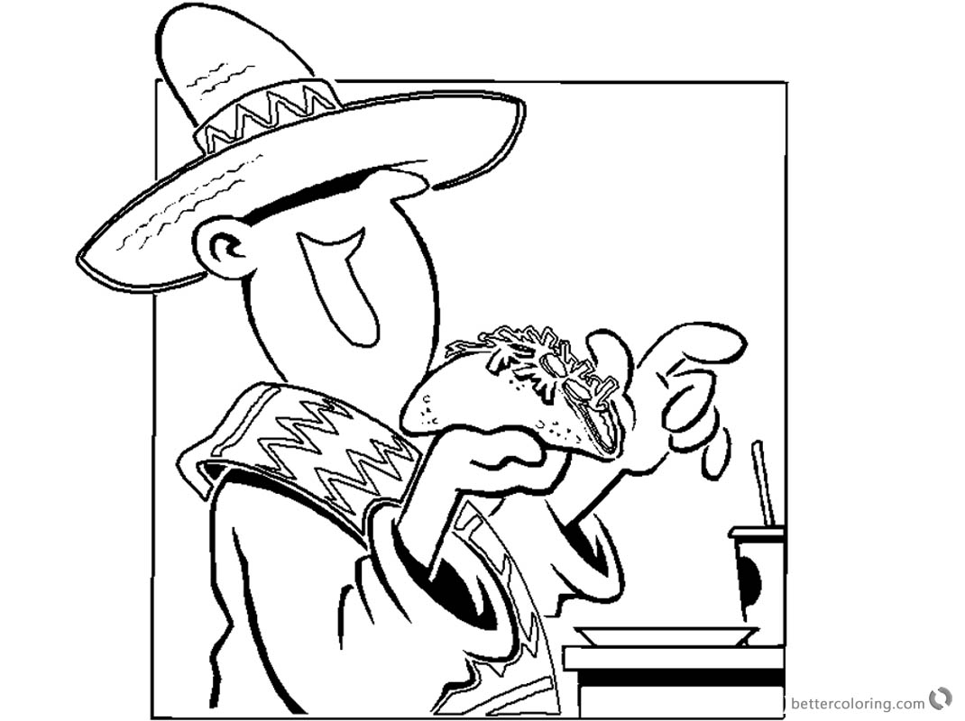 Mexican Taco Coloring Pages printable