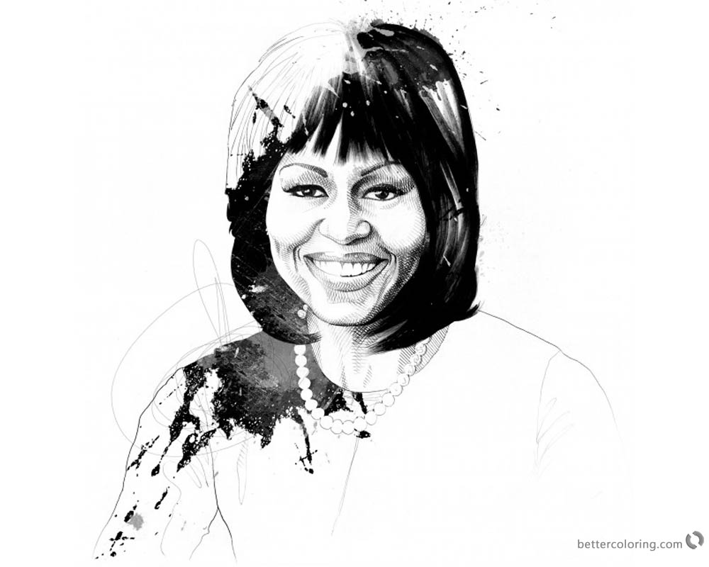 Michelle Obama Coloring Page Drawing printable