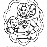 Michelle Obama Coloring Page First Lady with her girls